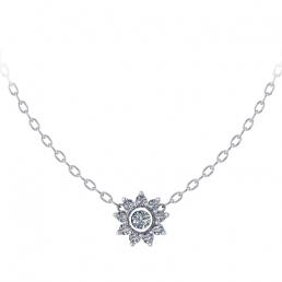 Colgante oro blanco diamantes flor joyería Salamanca