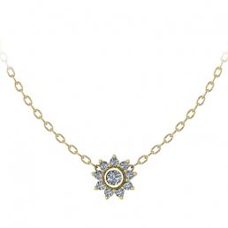 Colgante oro amarillo diamantes flor joyería Salamanca