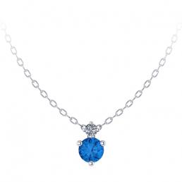 Colgante oro blanco diamante topacio azul joyería Salamanca