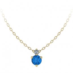 Colgante oro amarillo diamante topacio azul joyería Salamanca