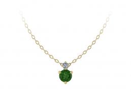 Colgante oro amarillo diamante topacio verde joyería Salamanca