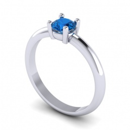 Solitario anillo sortija oro blanco topacio azul joyería Salamanca