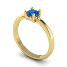 Solitario anillo sortija oro amarillo topacio azul joyería Salamanca