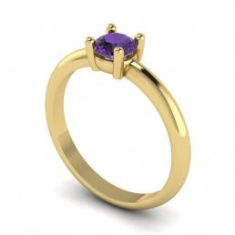 Solitario anillo sortija oro amarillo topacio morado joyería Salamanca