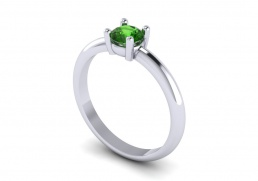 Solitario anillo sortija oro blanco topacio verde joyería Salamanca