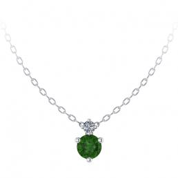 Colgante oro blanco diamante topacio verde joyería Salamanca