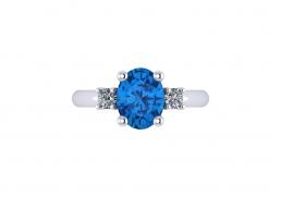 Anillo sortija oro blanco diamantes topacio azul joyería Salamanca