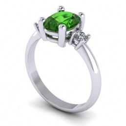 Anillo sortija oro blanco diamantes topacio verde joyería Salamanca