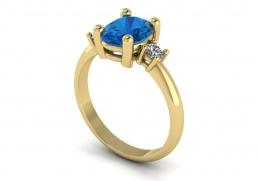 Anillo sortija oro amarillo diamantes topacio azul joyería Salamanca