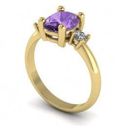 Anillo sortija oro amarillo diamantes topacio morado joyería Salamanca