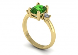 Anillo sortija oro amarillo diamantes topacio verde joyería Salamanca