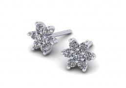 Pendientes oro blanco diamantes flor joyería Salamanca