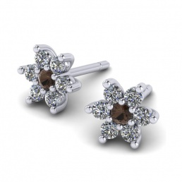 Pendientes oro blanco diamantes cuarzo ahumado flor joyería Salamanca