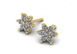 Pendientes oro amarillo diamantes flor joyería Salamanca