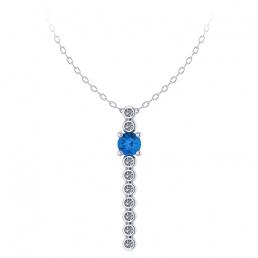 Colgante oro amarillo diamantes topacio azul joyería Salamanca