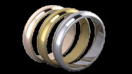 Alianzas de boda en oro blanco, amarillo y rosa